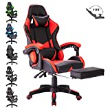 Advwin Executive Gaming Chair Office Computer Leather Racer Recliner Chair Footrest Red