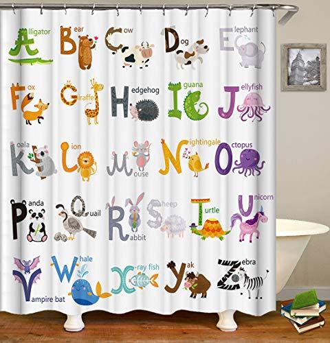 ABC Duschvorhang mit Tier-Alphabet, Lern-Alphabet, Kinder-Bad-Dekoration, Stoff-Panel, lustige Lehrwörter, Polyester-Tuchdruck, Badezimmervorhänge mit Haken, 183 cm x 183 cm (s2786)