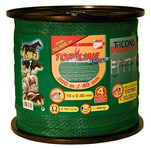 AKO Top Line Plus Weidezaunband, 40mm, grün - 200m - Widerstand: 0,18 Ohm, Sehr Gute Leitfähigkeit für Alle Zäune - In der Pferdehaltung und für Naturweiden