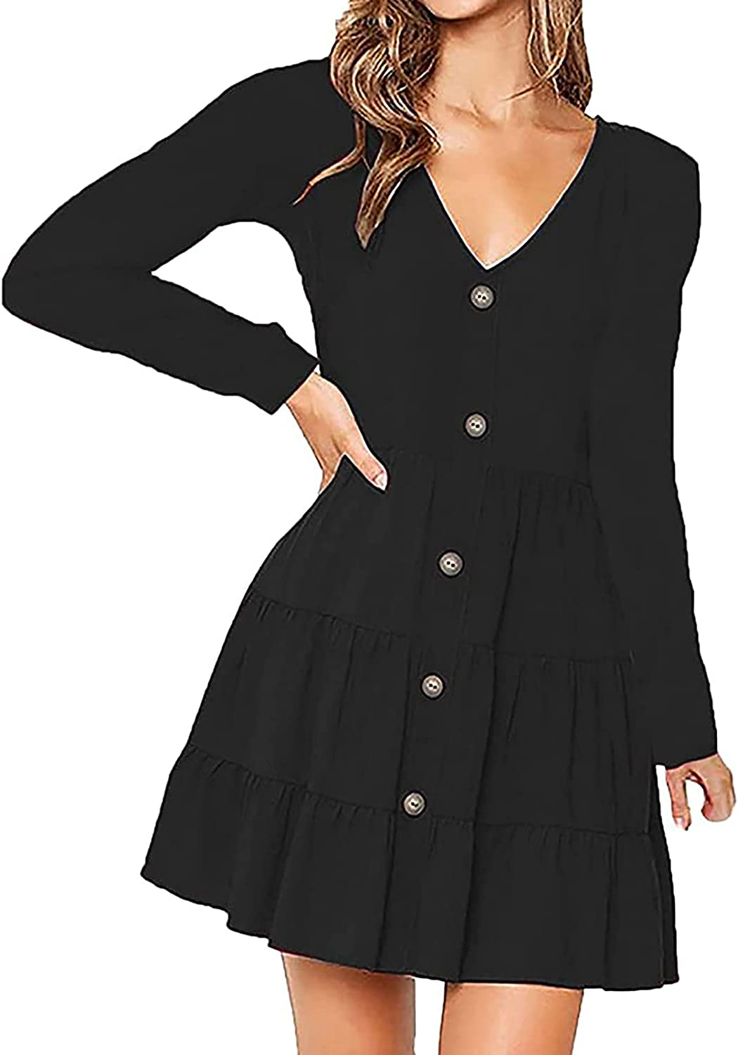 FRSH MNT Women's Sexy V-Neck Dress Casual Solid Color Single Breasted Short Dress Fall Long Sleeve Party Dresses
