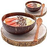 Pack  2 Bol Desayuno estilo Bol de Coco + Tronco Madera   Cuencos Aperitivo o Cereales y Postres   Coconut Bowl: el Paraíso en tu Cocina
