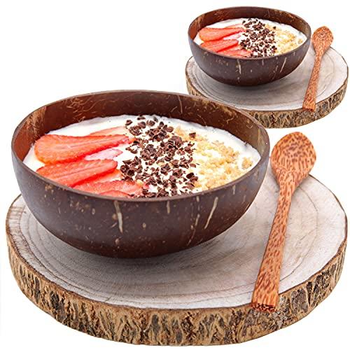 Pack    2 Bol Desayuno estilo Bol de Coco + Tronco Madera | Cuencos Aperitivo o Cereales y Postres | Coconut Bowl: el Paraíso en tu Cocina