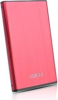 HDD 外付け ハードディスク 2TB 超薄型 ポータブル HDD SATA 2.5 インチ ハードディスク USB3.0 Mac/Ps4/Pc/Xbox/TV 対応 耐衝撃(2TB, 赤)