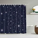 Cortina de Ducha Impermeable,Color Oscuro Twinkle Star Space,Cortinas de baño de poliéster de diseño 3D con 12 Ganchos,tamaño 180 x 180cm