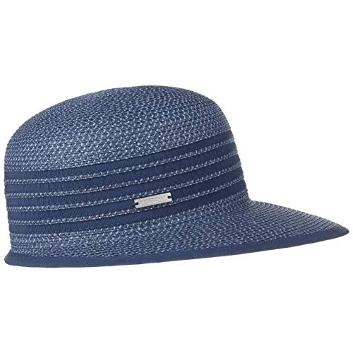 Seeberger Sombrero de Paja Isa Twotone Gorra Mujer (Talla única - Azul-Melange)