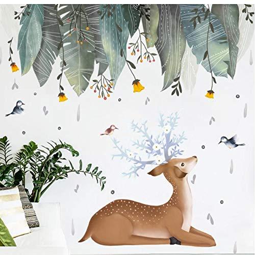 AnnQing estilo nórdico lindo ciervo verde hierba pegatinas de pared para sala de estar dormitorio habitación de los niños pegatinas de pared ecológicas arte murales decoración 118x118cm