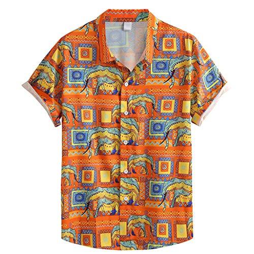 Aoogo Herren Revers mit sommerlichem Modedruck 3D Gedruckt Muster Kurzarm Freizeit Hemd Button Down Graphic Hemden Shirts