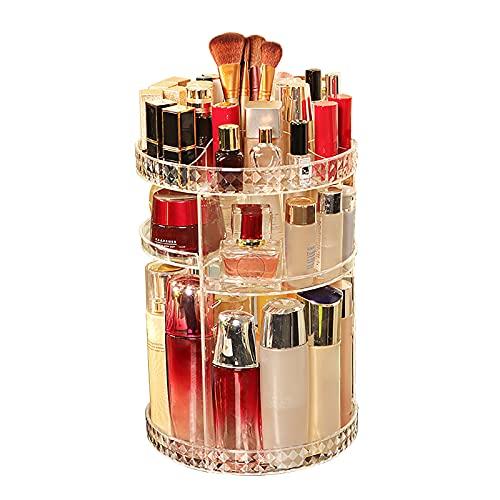 YIPON Organizador de maquillaje giratorio, gran capacidad para bricolaje, soporte de exhibición ajustable para aparador, dormitorio, cuarto de baño