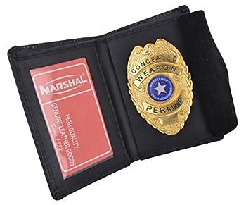 Genuine Leather RFID Slim Thin Bifold ID Money Wallet Oval Shape Badge Holder
