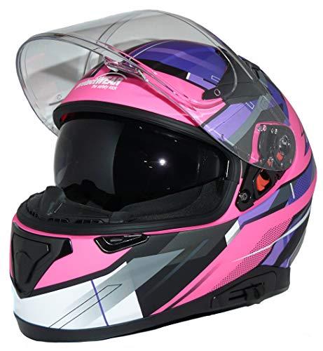 protectWEAR Casco moto integrale con visiera parasole integrata e visiera pieghevole 917-PL-S, rosa viola
