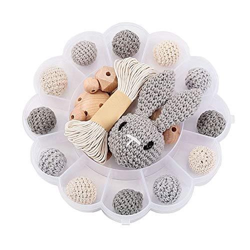 I LOVE MOM - DIY-Kit zum Zusammenbau von Schnullerkette aus Holzperlen, Kinder- und Kaninchenspielzeug, Häkeln von Holzperlen, Holzklammern, Schnullerhaltern Kaninchen-Blumensatz (grau)