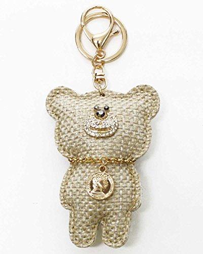 バッグチャーム キーホルダー ラインストーン クリスタル スワロフスキー キラキラ PUレザー プレゼント ギフト 誕生日 人気 クマ j103 (ツィード/ベージュ)