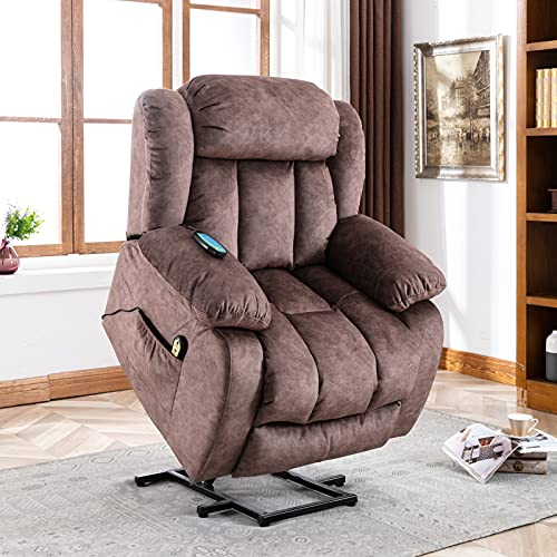Pumpumly Power Massage Lift Recliner Chair with Heat & Vibration for Elderly, Heavy Duty and Safety Motion Reclining Mechanism - Antiskid Fabric Sofa Contempoary Overstuffed Design (Grey)