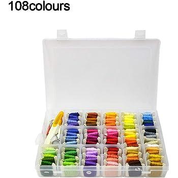 108 colores de hilo de bordar, kit de punto de cruz para principiantes con caja organizadora de hilos de bordado, para bricolaje, costura, pulseras de la amistad, anillos para el cabello: Amazon.es: