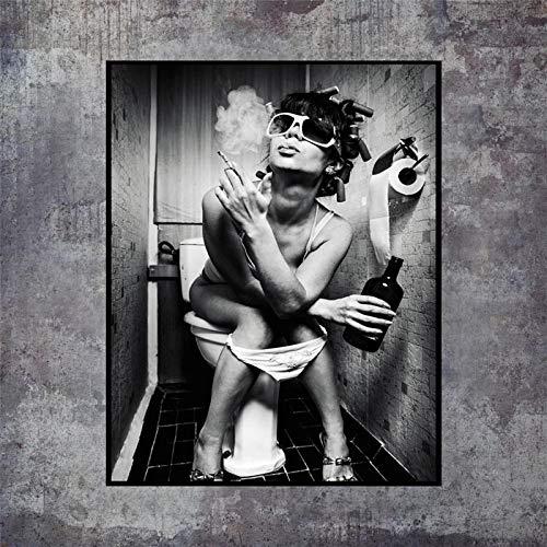 qianyuhe Lienzo Pintura Arte de la Pared Carteles e Impresiones en Blanco y Negro Chica Sexy Fumando Beber Se Sienta en un Inodoro Imagen de Mujer Diseño del hogar 60X90CM (23.6'x35.4)