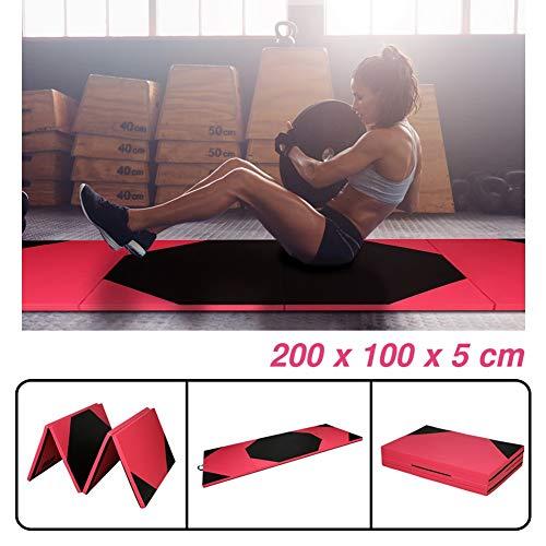 CCLIFE Schwarz&Rot Hexagon Klappbare Weichbodenmatte Turnmatte Fitnessmatte Gymnastikmatte rutschfeste Sportmatte Spielmatte, Farbe:200x100x5cm Rot&Schwarz Hexagon