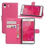 HualuBro Oppo R7 Hülle, [All Aro& Schutz] Premium PU Leder Leather Wallet HandyHülle Tasche Schutzhülle Flip Hülle Cover mit Karten Slot für Oppo R7 Smartphone (Rose)