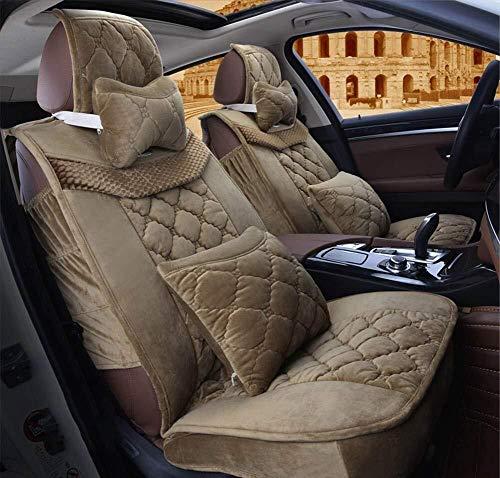 Herfst en Winter Fluwelen Auto Stoelhoes, Warm Katoen Gevulde Comfortabele Auto Stoel Kussen, Geschikt voor de meeste Vijfzits Auto's Groen