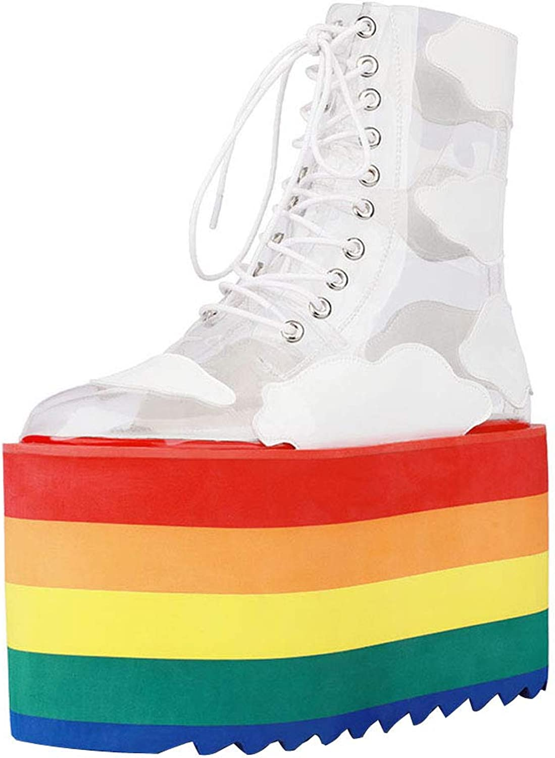 Themost Women's Fashion Clear Lace Up Ankle Boots Rainbow Transparent PVC Platform Block High Heels Boot