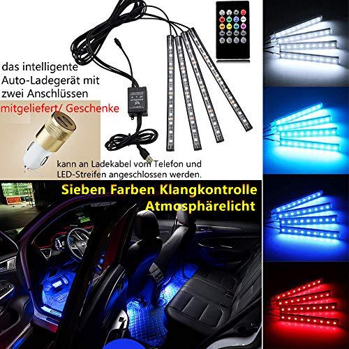 Auto Atmosphäre Licht Autozubehör Dekorative Lichter Ambience Lights Beleuchtung mit Sound Active Funktion und kabelloser Fernbedienung Dual-USB-Port Autoladegerät Autoteile