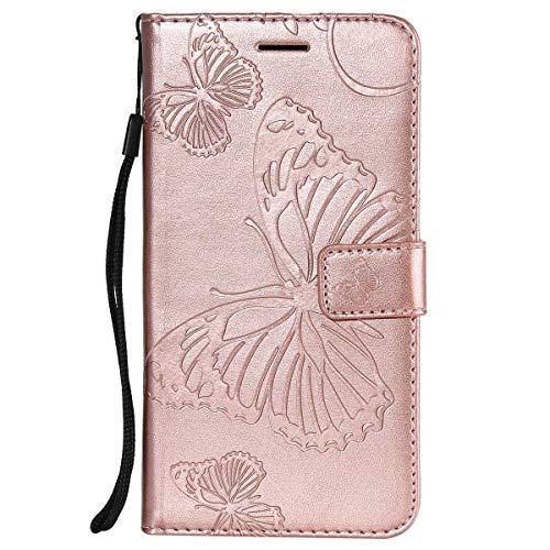 Sangrl Libro Funda para Xiaomi Redmi Note 5A Prime/Redmi Y1, Premium PU Leather Case Lindo Diseño de Patrón en Relieve de Mariposa Flip Case Rose Gold