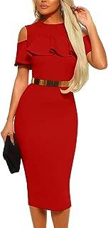 Best high neck frill cold shoulder midi dress red Reviews