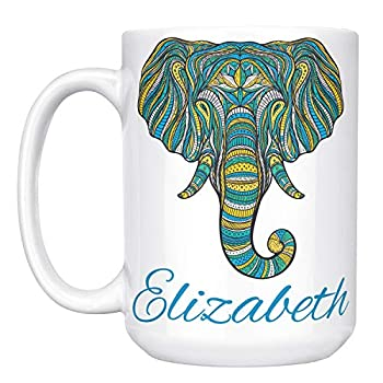 Elephant Gifts - Personalized 15oz Ceramic Elephant Coffee Mug w Name - Christmas Gifts for Women Kids - Cute Elephant Tea Cup - Tazas Personalizadas - Gifts Ideas For Sister