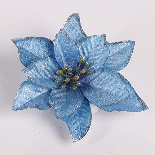 TAIELIK Poinsettia Christmas Decorations 12pcs Poinsettia Christmas Tree Ornaments Glitter Artificial Poinsettia Flowers for Xmas Decorations (Blue)