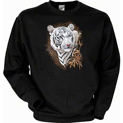 van-Petersen-Shirts Raubkatzen Sweatshirt, Motiv: Weisser Tiger Gr XL (Fb schwarz)