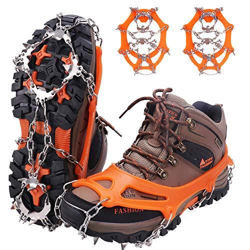 WIN.MAX Steigeisen Grödel Eisspikes, Schuhkrallen mit19 Edelstahl Zähne Spikes Schuhkrallen Grödeln Eisspikes für Klettern Bergsteigen Trekking High Altitude Winter Outdoor (Orange, XL)