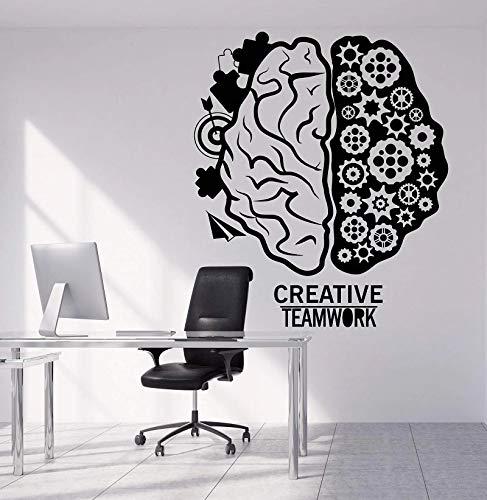 Pegatina de pared de vinilo de cerebro de trabajo en equipo, pegatina de pared de suspenso de Halloween inspiradora creativa, boca grande sonriente