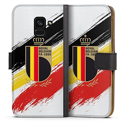DeinDesign Klapphülle kompatibel mit Samsung Galaxy A8 Duos 2018 Handyhülle aus Leder schwarz Flip Hülle Flagge Rote Teufel RBFA
