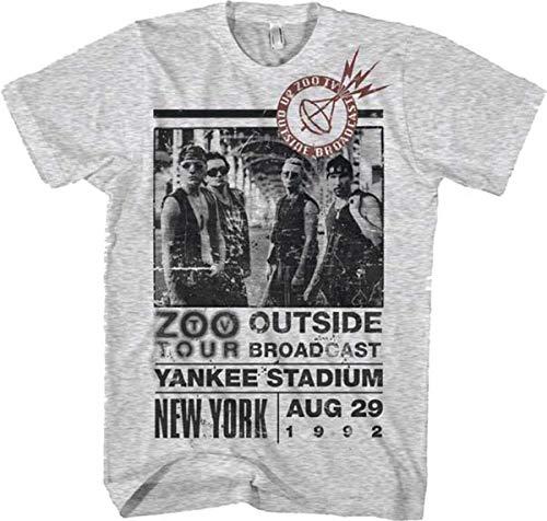 road U2 Z00 Outside Tour Men's Lightweight T Shirt Heather Grey Camisetas y Tops(X-Large)
