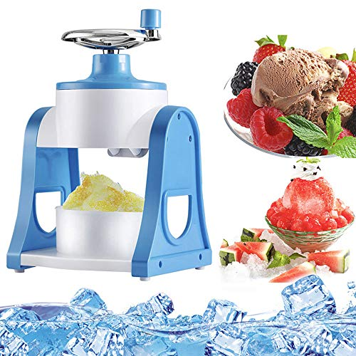 JAYI Shaved Ice Machines, Home Easy Ice Shaver Crusher Handheld Handstyle Snow Manual Crushing Ice Machine, Mini Ice Shaver for Summer (Blue)