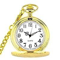 Water cup ヴィンテージ懐中時計懐中時計ゴールデンケースデザインレトロパターンテーマクォーツ懐中時計ネックレスチェーンヴィンテージ時計