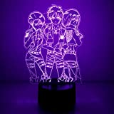 3D Illusion Attack On Titan Night Lights, Table Lamp USB Powered 7 Colors LED Night Lamp with Smart Touch Ideal for Japanese Anime Kids Fans Gift Room Decor