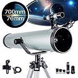 NOCOEX Telescopio para Principiantes y Niños - Apertura de 76 mm 700mm f/9 Reflector Newtoniano - Ocular*3, 1.5X Erigiendo, Lente 2X Bralow Trípode, Adaptador de Teléfono, Control de Obturador