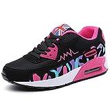 PADGENE Femme Baskets Course Gym Fitness Sport Chaussures Air Rose et Noir Taille EU 38