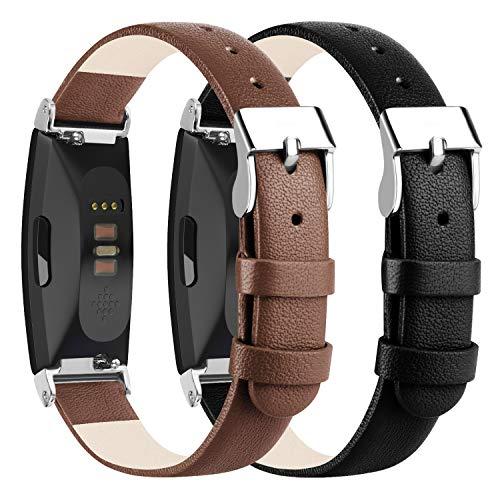 """Wanme - Cinturino in pelle per Fitbit Inspire HR con connettori in metallo per Fitbit Inspire e Fitbit Inspire HR, 01 Nero+Marrone, 5.5"""" - 8.1"""""""