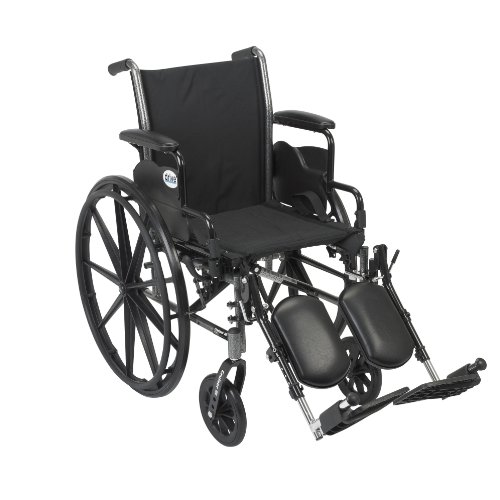 Drive Medical Cruiser III Light Weight Wheelchair with Various Flip Back Arm Styles and Front Rigging Options, Flip Back Removable Desk Arms/Elevating Leg Rests, Black, 20 Inch