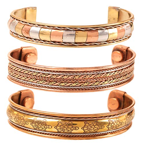 Touchstone New Brass Copper Indian Handcrafted Tortoise Inspired Hand Etching Wire Channel Work Peace Magnetic Healing Chakra Meditation Bracelets In Natural Tones. Set of 3 for Women and Men.