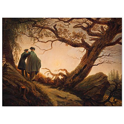 JUNIWORDS Poster, Caspar David Friedrich, Zwei Männer in Betrachtung des Mondes, 80,5 x 60 cm