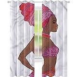 Cortina opaca para ventana de mujer sexy zulu mujer W52 x L72 cortinas de oscurecimiento para sala de estar