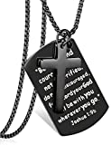 LOYALLOOK Stainless Steel Dog Tags Cross Necklaces Inspirational Jewelry Gift for Women Men Bible Prayer Joshua 1:9b Black Tone