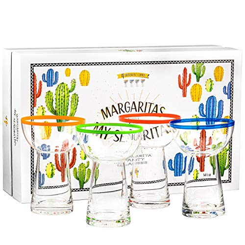 Premium Large Margarita Glasses | 4 Heavy Duty, Thick, 14.5 oz Glasses Gift Set | Non-Wobble Shape,...