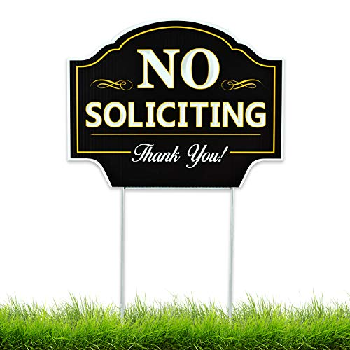 No Soliciting Sign for Home Yard - House Lawn - Great for Businesses - Stop Solicitation, Deter Door Knockers and Bell Ringers (Coro)