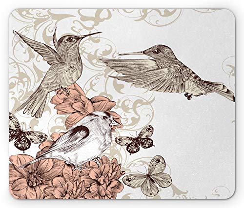 Ambesonne Hummingbird Mouse Pad, Vintage Style Artwork with Birds Butterflies on Blossoms Ornamental Background, Rectangle Non-Slip Rubber Mousepad, Standard Size, Brown Tan