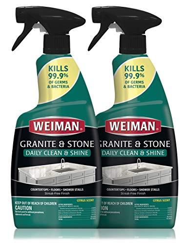 Weiman Disinfectant Granite Daily Clean & Shine - (2 Pack) Safely Clean Disinfect and Shine Granite Marble Soapstone Quartz Quartzite Slate Limestone Corian Laminate Tile Countertop