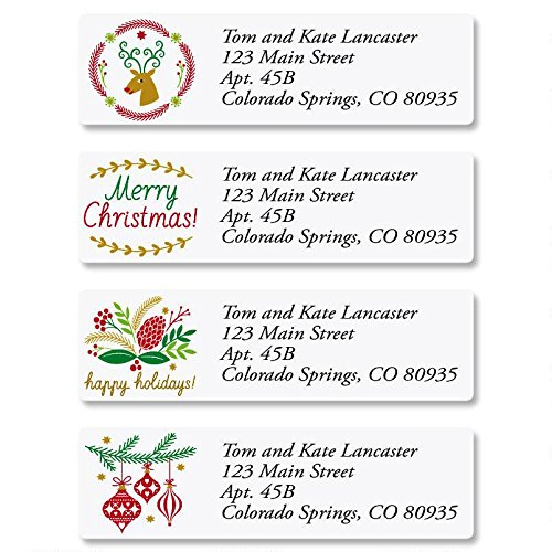 Salutations Christmas Personalized Return Address Labels – Set of 240, Small Self-Adhesive, Flat-Sheet Labels (4 Designs), by Colorful Images