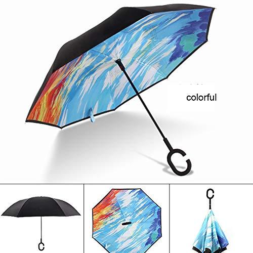TVKL Parapluie Poignée Windproof Reverse Folding Umbrella...